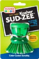 Parve Green Sud-Zee Scrub Brush with Liquid Dish Soap Dispenser