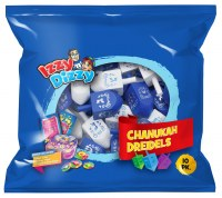 Wood Dreidels Blue and White 10 Pack with Play Money Coins