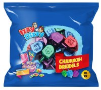 Colorful Metallic Dreidels 10 Pack with Play Money Coins