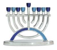"Aluminum Candle Menorah Arc Design Blue Glitter 7.5"""