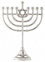 """Traditional Candle Menorah with Silvertone Finish Featuring Magen David 9"""""""