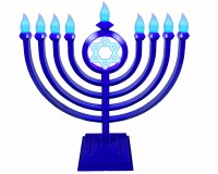 LED Menorah Classic Style Remote Control Blue