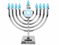 LED Menorah Classic Style Remote Control Silver