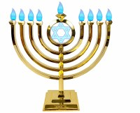 LED Menorah Classic Style Remote Control Gold