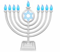 LED Menorah Classic Style Remote Control White