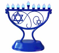 LED Menorah Whimsical Design Remote Control Blue