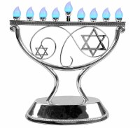 LED Menorah Whimsical Design Remote Control Silver