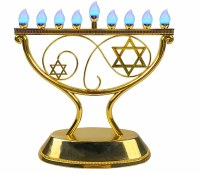 LED Menorah Whimsical Design Remote Control Gold