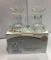 "Crystal Candlesticks 3"" Round Base with Fluted Design"