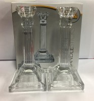 "Crystal Candlesticks 8"" Square Base with Fluted Design"