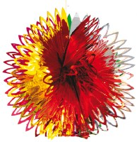 """15"""" Section Ball Red and Yellow Foil Hanging Sukkah Decoration #36"""