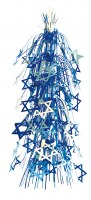 "28"" Lantern Blue and White Magen David Stars Foil Hanging Sukkah Decoration #60"
