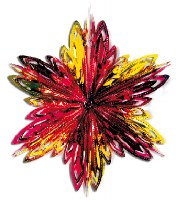 "16"" Section Red and Yellow Starburst Foil Hanging Sukkah Decoration #14"