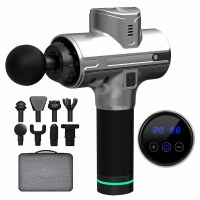 Handheld Electric Body Massage Gun Silver with 8 Attachments