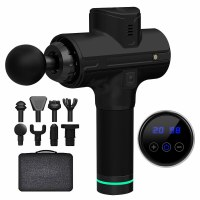 Handheld Electric Body Massage Gun Black with 8 Attachments