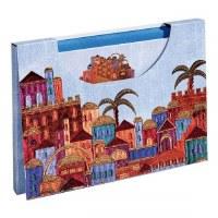 Yair Emanuel Notelets and Envelopes with Case Jerusalem Buildings Design Blue 10 Pack
