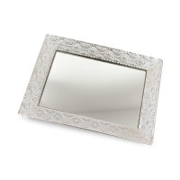Glass Tray Silver Colored Border Wavy Design