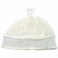 White Cloth Frik Kippah with Tassel