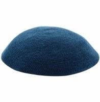 Dark Blue Fine Knitted Kippah Serugah DMC 17cm