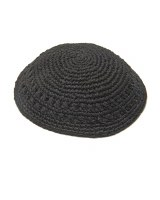 Black Knitted Thick Frik Kippah with Holes 18cm