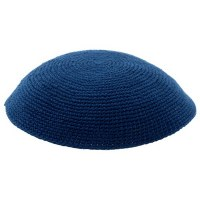 Blue Fine Knitted Kippah Serugah 15cm - A2