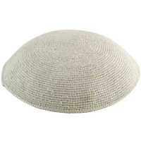 White Fine Knitted Kippah Serugah 15cm - A13