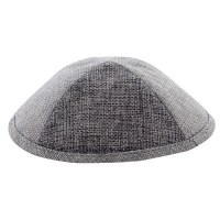 Linen Kippah with Pin Spot Light Grey and Dark Grey 18cm