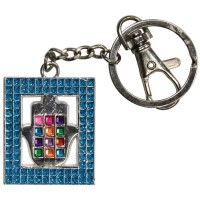Key Chain with Blue Framed Hamsa and Colorful Chosen Stones