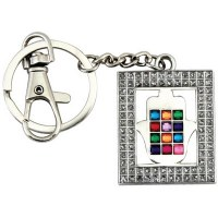 Key Chain with White Framed Hamsa and Colorful Choshen Stones
