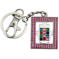 Key Chain with Pink Framed Hamsa and Colorful Choshen Stones