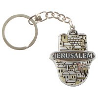 Hamsa Hand Key Chain Decorated with Jerusalem Design