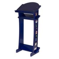 Modular Blue Wooden Shtender for Children with Alef Bais Print