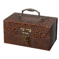 Faux Leather Esrog Box Intricate Design Metal Handle and Lock Brown