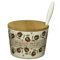 """Bamboo Honey Dish Shana Tovah Pomegranate Design 2.5"""" with Spoon"""