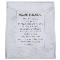 Home Blessing Glass Wall Hanging Gray Marble Effect Design English