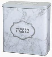 "Tin Matzah Box Grey Marble Design 8"" x 7.5"""