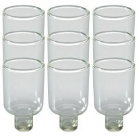 "Round Glass Oil Cups 9 Pack 1.97""H"