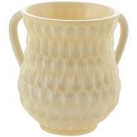 Polyresin Beige Washing Cup Bulging Design