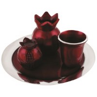 Havdallah Set Pomegranate Shaped Burgundy and Silver Colored Aluminum with Tray