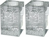 Crystal Square Candlesticks with Exquisite Metal Cutout Silver Color Jerusalem Design