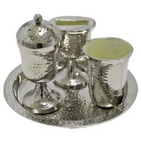 Havdallah Set Silver Colored Hammered Aluminum with Tray