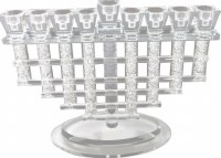 Menorah Crystal Woven Pipes with Stones Inside