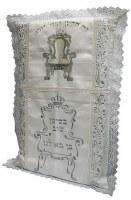 Bris Pillow Satin Embroidered Kisei Shel Eliyahu Design White