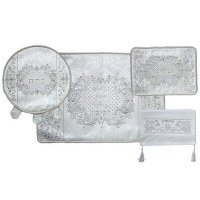 Pesach 4 Piece Set White and Silver Design
