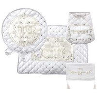 Pesach 4 Piece Set White and Beige Design
