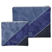 Tallis and Tefillin Bag Set 3 Tone Blue Faux Leather Striped Design