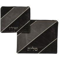 Tallis and Tefillin Bag Set Faux Leather Gray and Black Diagonal Stripe Square Design