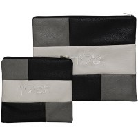 Tallis and Tefillin Bag Set Faux Leather Grey and Black Patchwork Design