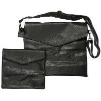 Tallis and Tefillin Bag Set Black Faux Leather with Strap
