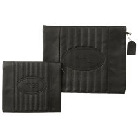 Tallis and Tefillin Bag Set Faux Leather Grey Vertical Striped Design
